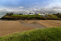WORDS BY JANE FRYER, DAILY MAIL<br /> Pictured: The beach in Aberporth, west Wales, UK. Thursday 21 December 2017<br /> Re: The Welsh coastal village of Aberporth has launched a crusade against single-use plastic products.<br /> The village's general store is selling milk in glass bottles and a pub has replaced plastic drinking straws with paper ones.<br /> Residents launched Plastic-free Aberporth as the UK government's Environment Secretary, Michael Gove, issued his four-point plan for tackling plastic waste.