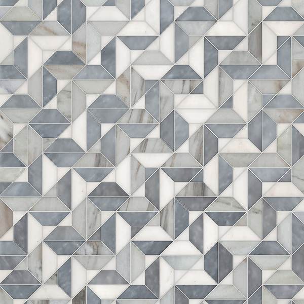 Zachary, a hand-cut stone mosaic, shown in polished Afyon White, Allure, and honed Angora, is part of the Semplice® collection for New Ravenna.