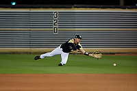 UCF Knights outfielder Dalton Wingo (8) attempts to catch a shallow fly ball during a game against the Siena Saints on February 14, 2020 at John Euliano Park in Orlando, Florida.  UCF defeated Siena 2-1.  (Mike Janes/Four Seam Images)