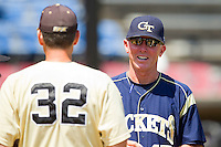 Georgia Tech Yellow Jackets head coach Danny Hall exchanges lineup cards at home plate with Wake Forest Demon Deacons head coach Tom Walter #32 at Wake Forest Baseball Park on April 15, 2012 in Winston-Salem, North Carolina.  The Demon Deacons defeated the Yellow Jackets 11-3.  (Brian Westerholt/Four Seam Images)