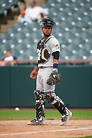 Akron RubberDucks catcher Alex Monsalve (24) during the second game of a doubleheader against the Bowie Baysox on June 5, 2016 at Prince George's Stadium in Bowie, Maryland.  Bowie defeated Akron 12-7.  (Mike Janes/Four Seam Images)