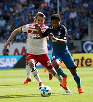 15.04.2018, Wirsol Rhein-Neckar-Arena, Sinsheim, GER, 1.FBL, TSG 1899 Hoffenheim vs Hamburger SV, <br />Matti Steinmann (Hamburg), Serge Gnabry (Hoffenheim) *** Local Caption *** © pixathlon<br /> Contact: +49-40-22 63 02 60 , info@pixathlon.de