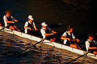 Young women rowing at the Head of the Charles Regatta.