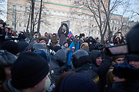 People gather for an illegal anti-Putin protest in Lubyanka Square, outside the former KGB headquarters.