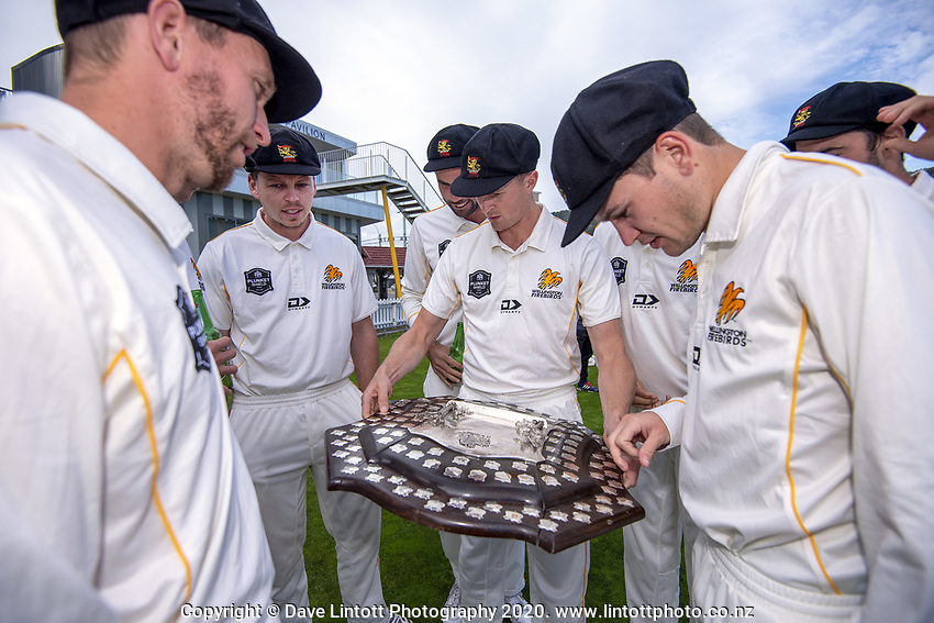 The Wellington Firebirds celebrate winning the 2019-2020 Plunket Shield at Basin Reserve in Wellington, New Zealand on Thursday, 19 March 2020. Photo: Dave Lintott / lintottphoto.co.nz
