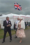 Royal Ascot horse racing Berkshire. Racegoers on The Heath side of the race track, That side is free or much cheaper. 2016 2010s.