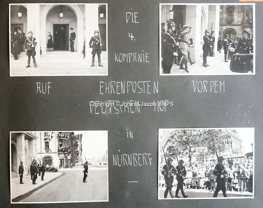 BNPS.co.uk (01202 558833)<br /> Pic: Jones&Jacob/BNPS<br /> <br /> 4th Company of the LSSAH on duty with Hitler in Nurenberg in 1937.<br /> <br /> Springtime for Hitler...Chilling album of pictures taken by one of Hitlers bodyguards illustrates the Nazi dictators rise to power.<br /> <br /> An unseen album of photographs taken by a member of Hitlers own elite SS bodyguard division in the years leading up to the start of WW2.<br /> <br /> The 1st SS Panzer Division 'Leibstandarte SS Adolf Hitler' or LSSAH began as Adolf Hitler's personal bodyguard in the 1920's responsible for guarding the Führer's 'person, offices, and residences'.