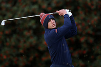 PINEHURST, NC - MARCH 02: Andrew Orischak of the University of Virginia tees off on the first hole at Pinehurst No. 2 on March 02, 2021 in Pinehurst, North Carolina.
