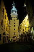 Bratislava, Slovakia. Michalska Brana (Michael's Gate) Tower at night.