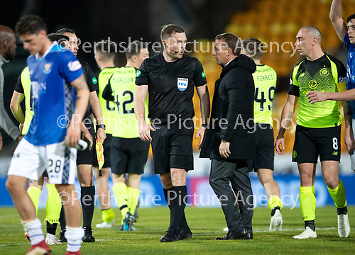 St Johnstone v Celtic…26.09.18…   McDiarmid Park     BetFred Cup Quarter Final<br />Brendan Rodgers has words with referee John Beaton at full time<br />Picture by Graeme Hart. <br />Copyright Perthshire Picture Agency<br />Tel: 01738 623350  Mobile: 07990 594431