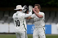 Charlie Morris of Worcestershire claims the wicket of Sir Alastair Cook of Essex during Essex CCC vs Worcestershire CCC, LV Insurance County Championship Group 1 Cricket at The Cloudfm County Ground on 8th April 2021