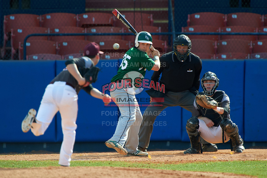 Farmingdale Rams Ryan Gaffney (35) at bat in front of catcher Mike Fitzsimmons during a game against the Union Dutchmen on February 21, 2016 at Chain of Lakes Stadium in Winter Haven, Florida.  Farmingdale defeated Union 17-5.  (Mike Janes/Four Seam Images)