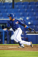 GCL Blue Jays right fielder Antony Fuentes (57) at bat during the second game of a doubleheader against the GCL Phillies on August 15, 2016 at Florida Auto Exchange Stadium in Dunedin, Florida.  GCL Phillies defeated the GCL Blue Jays 4-0.  (Mike Janes/Four Seam Images)