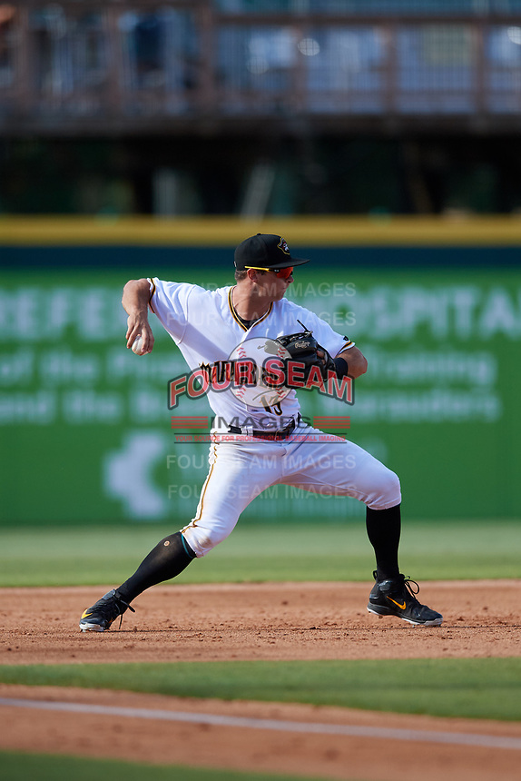 Bradenton Marauders third baseman Hunter Owen (13) makes a throw during the second game of a doubleheader against the Jupiter Hammerheads on May 27, 2018 at LECOM Park in Bradenton, Florida.  Jupiter defeated Bradenton 4-1.  (Mike Janes/Four Seam Images)