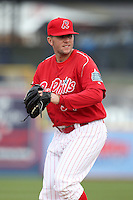 Reading Phillies pitcher Justin Friend #34 during practice before a game against the New Hampshire Fisher Cats at FirstEnergy Stadium on April 10, 2012 in Reading, Pennsylvania.  New Hampshire defeated Reading 3-2.  (Mike Janes/Four Seam Images)