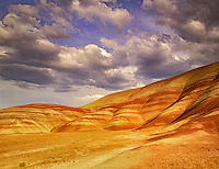 Painted Hills with clouds. John Day Fossil Beds National Monument, Oregon