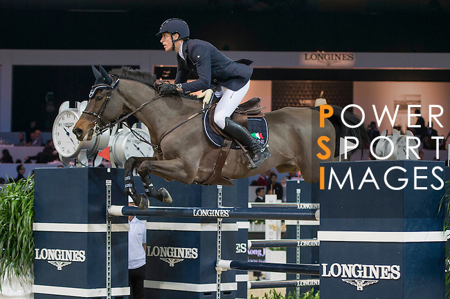 William Whitaker of United Kingdom riding Fento Chin S during the Hong Kong Jockey Club Trophy competition, part of the Longines Masters of Hong Kong on 10 February 2017 at the Asia World Expo in Hong Kong, China. Photo by Marcio Rodrigo Machado / Power Sport Images