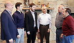 WATERBURY CT. 28 December 2018-122818SV22-From left, members, Robert Romanelli , Steven Romanelli , Nick Saverio Romanelli, Saverio Romanelli  talk with Vittorio Guerrera, vice president and Antonir Rubbo, president at the Ponte Club in Waterbury Friday.  Nick Romanelli is the 4th generation to join the Ponte Club in Waterbury. <br /> Steven Valenti Republican-American