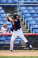 Binghamton Mets left fielder Jayce Boyd (3) at bat during a game against the Richmond Flying Squirrels on June 26, 2016 at NYSEG Stadium in Binghamton, New York.  Binghamton defeated Richmond 7-2.  (Mike Janes/Four Seam Images)