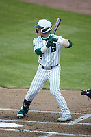 Carson Johnson (2) of the Charlotte 49ers at bat against the Appalachian State Mountaineers at Atrium Health Ballpark on March 23, 2021 in Kannapolis, North Carolina. (Brian Westerholt/Four Seam Images)