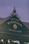 Sheffield Wednesday 2 Peterborough 1, 20/01/2010. Hillsborough, Championship. The clock and roof of the main stand pictured as Sheffield Wednesday take on Peterborough United in a Coca-Cola Championship match at Hillsborough Stadium, Sheffield. The home side won by 2 goals to 1 giving Alan Irvine his third straight win since taking over as Wednesday's manager. Photo by Colin McPherson.
