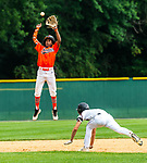 WATERBURY, CT 072721JS12 Overlook's Ryan Hammarlund (11) dives into second base for a steal after Bonnie's Rene Perez (23) had to jump for the ball thrown to him during their Mickey Mantle World Series game Thursday at Municipal Stadium in Waterbury. <br /> Jim Shannon Republican American