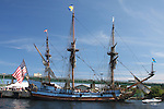 Sailing tall ship in port. Portsmouth, NH
