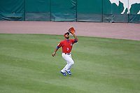 Buffalo Bisons right fielder Teoscar Hernandez (3) catches a fly ball during a game against the Indianapolis Indians on August 17, 2017 at Coca-Cola Field in Buffalo, New York.  Buffalo defeated Indianapolis 4-1.  (Mike Janes/Four Seam Images)