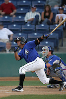 Luis Jimenez of the Rancho Cucamonga Quakes during game against the Inland Empire 66'ers at The Epicenter in Rancho Cucamonga,California on August 7, 2010. Photo by Larry Goren/Four Seam Images