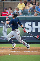 Travis Blankenhorn (7) of the Elizabethton Twins follows through on his swing against the Pulaski Yankees at Calfee Park on July 25, 2016 in Pulaski, Virginia.  The Twins defeated the Yankees 6-1.  (Brian Westerholt/Four Seam Images)