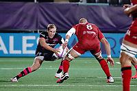 16th October 2020, Stade Maurice David, Aix-en-Provence, France;  Challenge Cup Rugby Final Bristol Bears versus RC Toulon;  Callum Sheedy (Bristol Bears) takes on Sergio Parisse (RC Toulon)