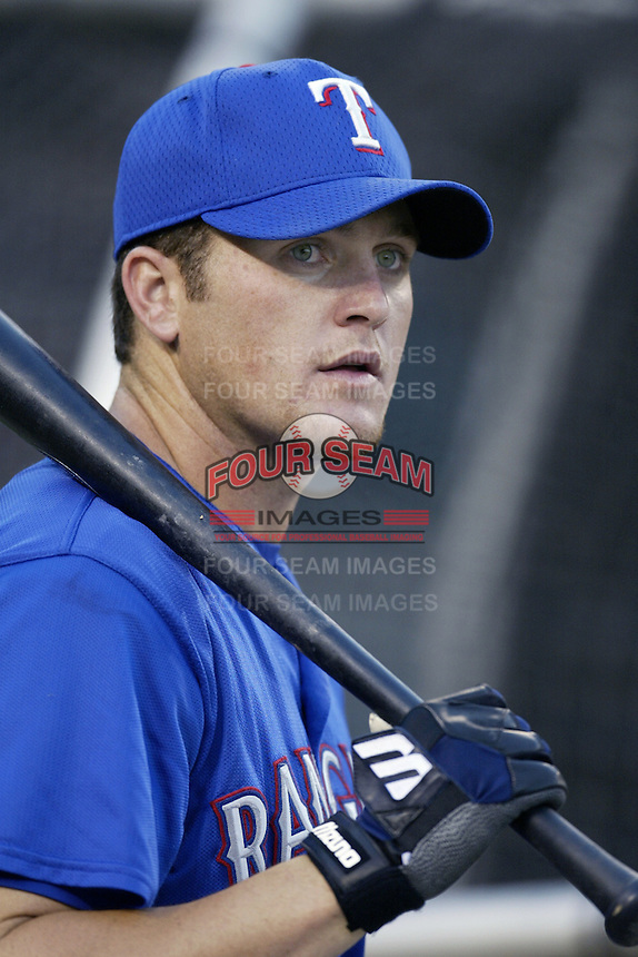 Jason Hart of the Texas Rangers before a 2002 MLB season game against the Los Angeles Angels at Angel Stadium, in Los Angeles, California. (Larry Goren/Four Seam Images)