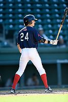 Shortstop Ryan Fitzgerald (24) of the Greenville Drive bats in Game 1 of a doubleheader against the Rome Braves on Friday, August 3, 2018, at Fluor Field at the West End in Greenville, South Carolina. Rome won, 7-6. (Tom Priddy/Four Seam Images)