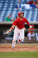 Clearwater Threshers designated hitter Herlis Rodriguez (27) runs to first base during a game against the Palm Beach Cardinals on April 14, 2017 at Spectrum Field in Clearwater, Florida.  Clearwater defeated Palm Beach 6-2.  (Mike Janes/Four Seam Images)