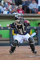 Wisconsin Timber Rattlers catcher Nick Kahle (16) throws down to second base between innings during a game against the Quad Cities River Bandits on July 8, 2021 at Neuroscience Group Field at Fox Cities Stadium in Grand Chute, Wisconsin.  (Brad Krause/Four Seam Images)