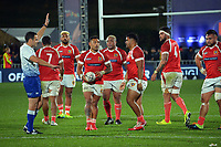Referee Ben O'Keefe awards a penalty to Tonga during the Steinlager Series rugby match between the New Zealand All Blacks and Tonga at Mt Smart Stadium in Auckland, New Zealand on Saturday, 3 July 2021. Photo: Dave Lintott / lintottphoto.co.nz