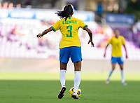 ORLANDO, FL - FEBRUARY 21: Bruna #3 of Brazil dribbles during a game between Brazil and USWNT at Exploria Stadium on February 21, 2021 in Orlando, Florida.