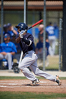 New York Yankees shortstop Jorge Mateo (28) follows through on a swing during a minor league Spring Training game against the Toronto Blue Jays on March 30, 2017 at the Englebert Complex in Dunedin, Florida.  (Mike Janes/Four Seam Images)