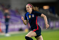 ORLANDO, FL - FEBRUARY 24: Rose Lavelle #16 of the USWNT sprints during a game between Argentina and USWNT at Exploria Stadium on February 24, 2021 in Orlando, Florida.