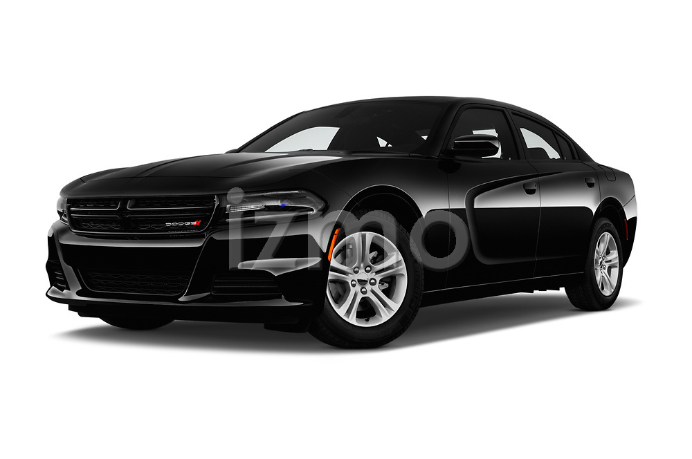 Stock pictures of low aggressive front three quarter view of a 2018 Dodge Charger SXT 4 Door Sedan