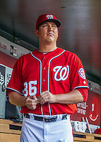 28 May 2016: Washington Nationals pitcher Sammy Solis stands in the dugout prior to a game against the St. Louis Cardinals at Nationals Park in Washington, DC. The Cardinals defeated the Nationals 9-4 to take a 2-games to 1 lead in their 4-game series. Mandatory Credit: Ed Wolfstein Photo *** RAW (ARW) Image File Available ***