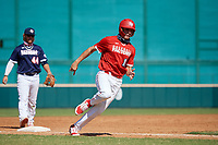Wes Kath (10) running the bases during the Baseball Factory All-Star Classic at Dr. Pepper Ballpark on October 4, 2020 in Frisco, Texas.  Wes Kath (10), a resident of Scottsdale, Arizona, attends Desert Mountain High School.  (Mike Augustin/Four Seam Images)