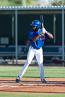AZL Cubs 1 center fielder Edmond Americaan (22) at bat during an Arizona League game against the AZL Indians 1 at Sloan Park on August 27, 2018 in Mesa, Arizona. The AZL Cubs 1 defeated the AZL Indians 1 by a score of 3-2. (Zachary Lucy/Four Seam Images)