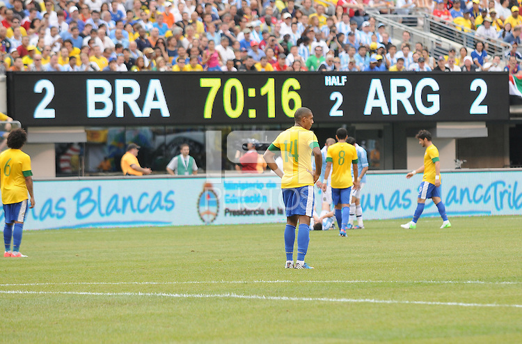 Score board during the game. The Argentina National Team defeated Brazil 4-3 at MetLife Stadium, Saturday July 9 , 2012.
