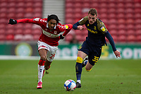 13th March 2021; Riverside Stadium, Middlesbrough, Cleveland, England; English Football League Championship Football, Middlesbrough versus Stoke City; Djed Spence of Middlesbrough and Josh Tymon of Stoke City compete for the ball