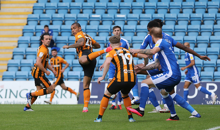 Hull City's Josh Magennis flicks on a cross<br /> <br /> Photographer Rob Newell/CameraSport<br /> <br /> The EFL Sky Bet League One - Gillingham v Hull City - Saturday September 12th 2020 - Priestfield Stadium - Gillingham<br /> <br /> World Copyright © 2020 CameraSport. All rights reserved. 43 Linden Ave. Countesthorpe. Leicester. England. LE8 5PG - Tel: +44 (0) 116 277 4147 - admin@camerasport.com - www.camerasport.com