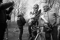 Paris-Roubaix 2013 RECON at Bois de Wallers-Arenberg..Juan Antonio Flecha (ESP) checking with DS Hilaire Van der Schueren (BEL)