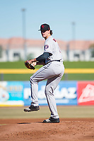 Scottsdale Scorpions starting pitcher Forrest Whitley (11), of the Houston Astros organization, delivers a pitch during an Arizona Fall League game against the Peoria Javelinas at Peoria Sports Complex on November 15, 2018 in Mesa, Arizona. Peoria defeated Scottsdale 2-1. (Zachary Lucy/Four Seam Images)