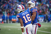 Buffalo Bills Robert Foster (16) and Charles Clay (85) celebrate a completed pass a pass during an NFL football game against the New York Jets, Sunday, December 9, 2018, in Orchard Park, N.Y.  (Mike Janes Photography)