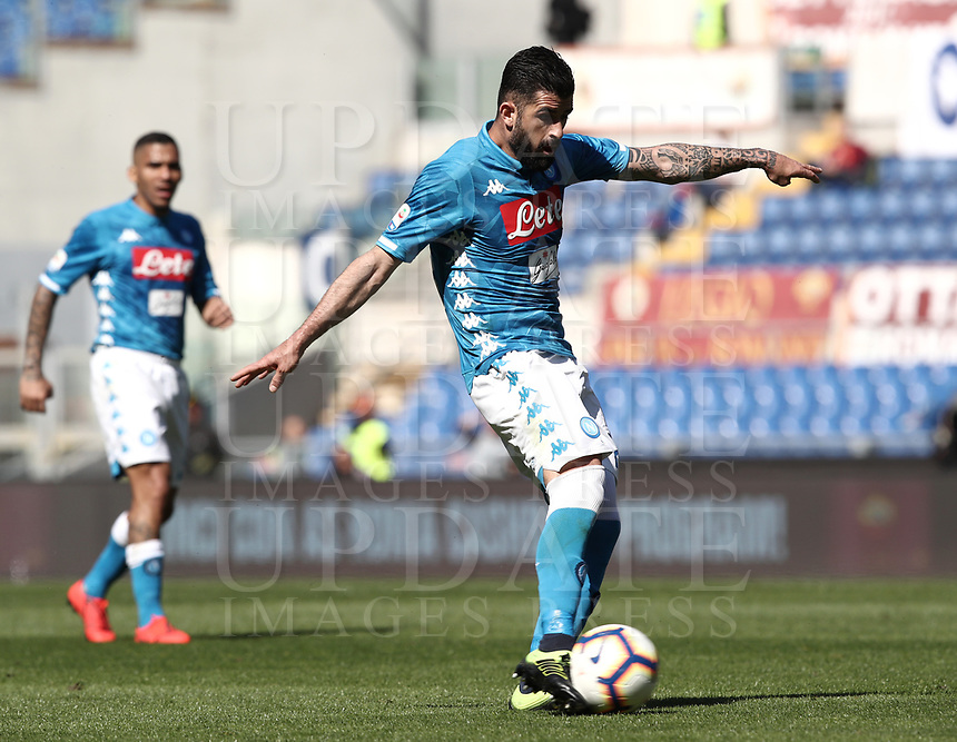 Football, Serie A: AS Roma - SSC Napoli, Olympic stadium, Rome, March 31, 2019. <br /> Napoli's Helseid Hysaj in action during the Italian Serie A football match between Roma and Napoli at Olympic stadium in Rome, on March 31, 2019.<br /> UPDATE IMAGES PRESS/Isabella Bonotto